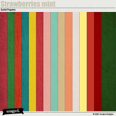 Strawberries mint Solid Papers