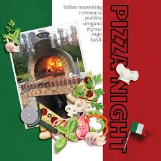 """""""Pizza Night"""" digital scrapbook layout features Global Gourmet: Italian Collection"""