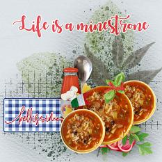 """""""Life is a Minestrone"""" digital scrapbook layout showcases Global Gourmet: Italian Collection"""