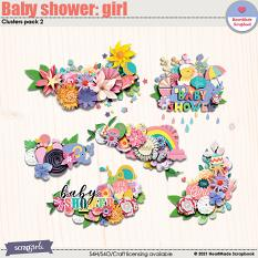 Baby shower: girl - clusters pack 2 by HeartMade Scrapbook