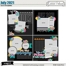 July 2021 12x12 Templates by Connie Prince