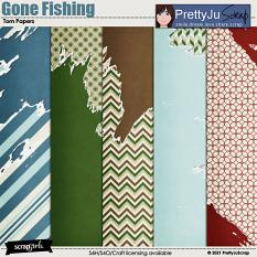 Gone Fishing Torn Papers