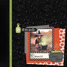Glitter Papers: Halloween scrapbook page layout by Diane Rooney