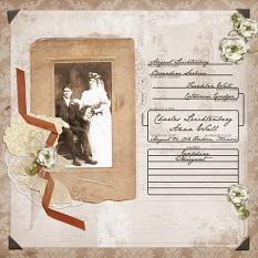 Digital scrapbook layout using Old Photo Frames Embellishments
