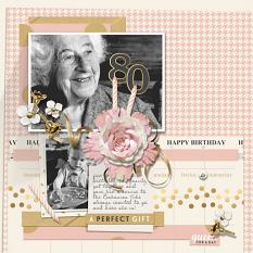 Happy 80th Birthday Digital Scrapbooking Layout by Brandy Murry