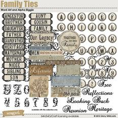 Family Ties digital scrapbooking word art and alpha by Ginny Whitcomb