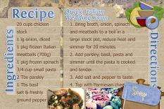"""wedding soup card"" layout showcases Gourmet Kitchen Recipe Cards (see supply list below)"