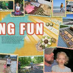 Camping Layout featuring ScrapSimple Digital Layout Album Templates: 12x12 Two Page Spreads