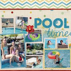 Pool Time Layout using ScrapSimple Digital Layout Album Templates: 12x12 Two Page Spreads