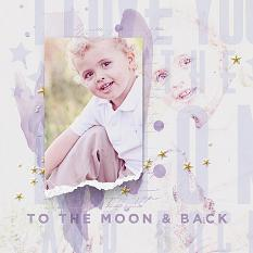 """To the Moon"" scrapbooking/photobook layout by Brandy Murry"