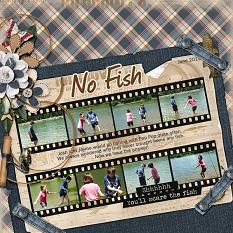 No Fish digital scrapbooking layout featuring Dads Tackle Box