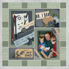 Jackson's First Day Home scrapbooking layout using Dads Tackle Box