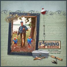 Fishing With Toddlers scrapbooking layout using Dads Tackle Box