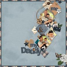 My Daddy scrapbooking layout using Dads Tackle Box Word Art and Alpha