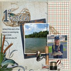1st Catch scrapbooking layout using Dads Tackle Box Word Art and Alpha