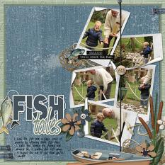 Fish Tales scrapbooking layout using Dads Tackle Box Word Art and Alpha