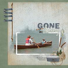 Gone Fishing scrapbooking layout using Dads Tackle Box Word Art and Alpha