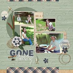 Horning's Hideout scrapbooking layout using Dads Tackle Box Word Art and Alpha