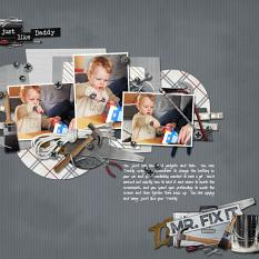Just Like Daddy digital scrapbooking layout featuring Tool Time Collection Mini