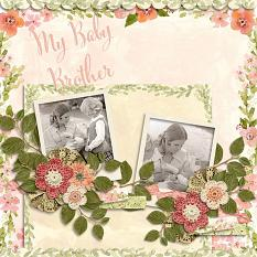 """My Baby Brother"" Digital Scrapbooking Layout using Watercolor Fleur Borders Paper Super Mini"