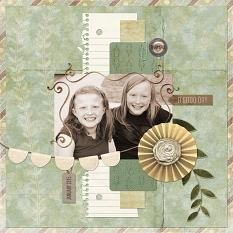"""A Good Day"" digital scrapbooking layout by Cherise Oleson, using ScrapSimple Tools - Shapes: Torn Notebook"