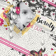 """Beauty"" digital scrapbooking layout by Brandy Murry"