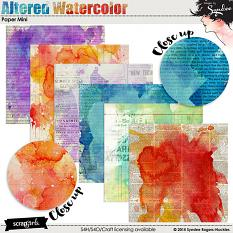 Altered Watercolor Digital Scrapbook Papers