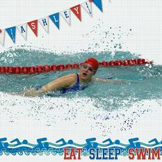 Digital scrapbooking layout featuring Swim Meet Collection Biggie