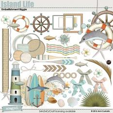 Island Life Embellishment Biggie, beach-themed digital scrapbooking elements by Armi Custodio