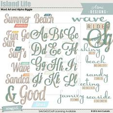 Island Life Word Art and Alpha Biggie, beach-themed digital scrapbooking word art and alpha by Armi Custodio