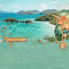 """Paradise Found"" tropical digital scrapbooking layout by Brandy Murry"