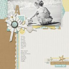 A Fun Day at the Beach digital scrapbooking/photobook layout by Brandy Murry