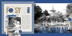 Forsyth Park digital scrapbooking/photobook layout by Brandy Murry