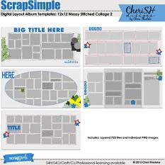 ScrapSimple Digital Layout Album Templates: Messy Stitched Collage 2