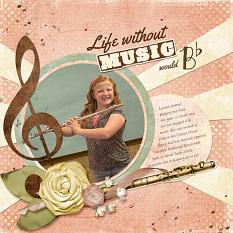 Digital Scrapbooking Layout by Cherise Oleson, using ScrapSimple Dynamic Brush Set: Musical Movement