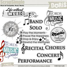 ScrapSimple Word Art Templates: Music Mania