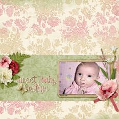 Sweet Baby Caitlyn layout featuring Tiny Moments Collection Super Mini