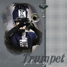 Trumpet Player layout using Scrap Simple Embellishment Templates:  Musical Masks