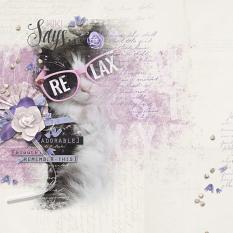 """Kiki Says Relax"" digital scrapbooking cat layout by Brandy Murry"