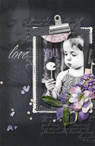 """Love You"" digital scrapbooking layout by Brandy Murry"