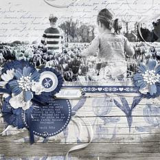 """Holland"" blue and white digital scrapbooking layout by Brandy Murry"