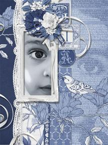 """Gia"" blue and white digital scrapbooking layout by Brandy Murry"
