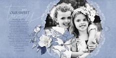 """Our Sweet Twins"" blue and white digital scrapbooking layout by Brandy Murry"
