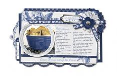 """Blueberry Muffin Recipe Card"" blue and white digital scrapbooking layout by Brandy Murry"