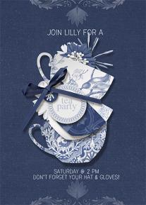 """Tea Party Invitation"" blue and white digital scrapbooking layout by Brandy Murry"