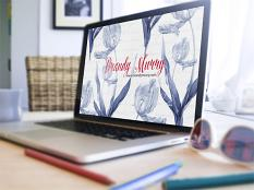"""Desktop Background"" blue and white tulips by Brandy Murry"