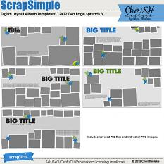ScrapSimple Digital Layout Album Templates: 12x12 Two Page Spreads 3 by Cheri Thieleke