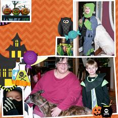 Trick-or-Treat layout using ScrapSimple Digital Layout Album Templates: 12x12 Two Page Spreads 3 by Cheri Thieleke
