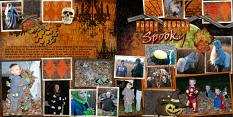 """Spooky"" layout using ScrapSimple Digital Layout Album Templates: 12x12 Two Page Spreads 3 by Cheri Thieleke"