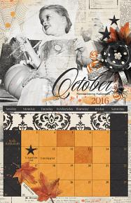 ScrapSimple Calendar Templates: 11x17 Blenders 2016 -  Halloween